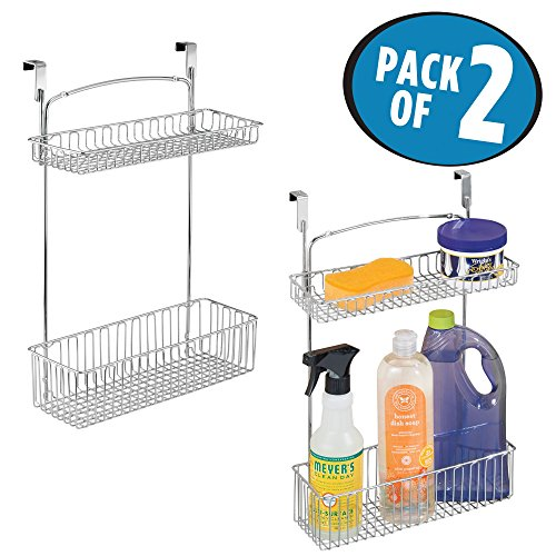 Counter Under Cabinet The Storage (mDesign Over Cabinet Kitchen Storage Organizer Holder or Basket - Hang Over Cabinet Doors in Kitchen/Pantry - Holds Dish Soap, Window Cleaner, Sponges - Pack of 2, Steel Wire in Chrome Finish)