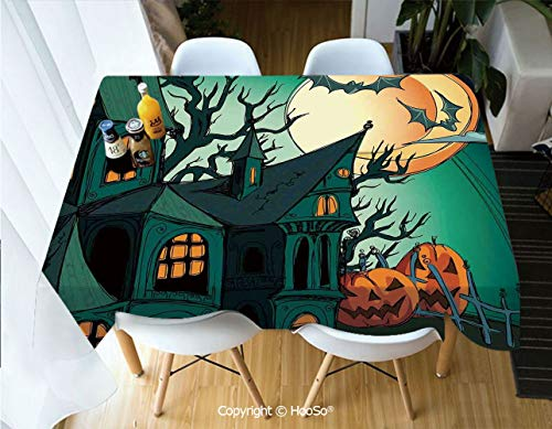 HooSo Premium Polyester Table Cover, Machine Washable, Durable Table Cloths for Wedding Reception Restaurant Banquet Party,Halloween Decorations,Haunted Medieval Cartoon Bats in,53