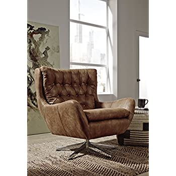 Ashley Furniture Signature Design - Velburg 360-Degree Swivel Accent Chair - Contemporary - Distressed Brown Fabric
