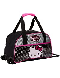 Hello Kitty Canvas Rolling Duffle Bag, Black/Pink, One Size