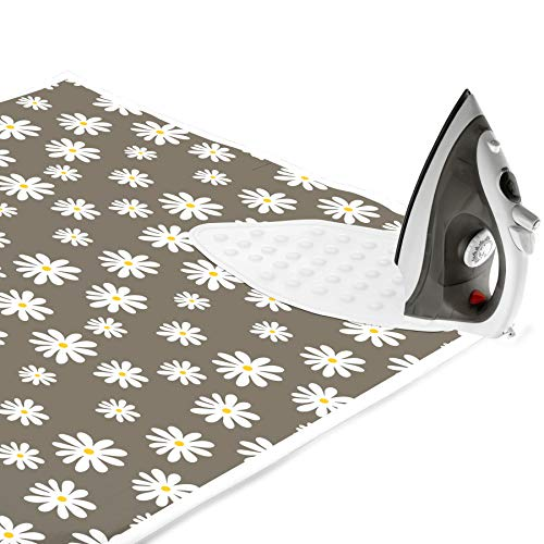 - Encasa Homes Ironing Mat / Pad (Large 47 x 28 inch) with 3mm Padding & Silicone Iron Rest for Steam Pressing on Tabletop or Bed - Heat Resistant, Portable, Quilting & Travel Blanket - Daisy Grey