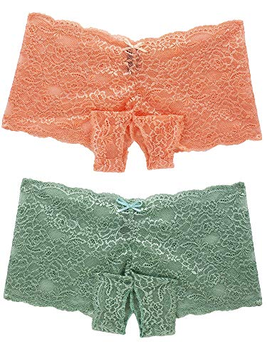 Barbra Lingerie Sexy Underwear Women Lace Open Crotch Discreet Boyshort 2PC (XXXXL, Peach-Sage-2pk)