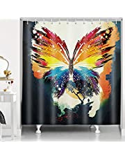 RHDORH Butterfly Shower Curtain Psychedelic Watercolor Ink Color Mountains Colorful Magic Fantasy Scene Polyester Fabric Waterproof Bath Curtain Set with Hooks 72x72In YLLMDO55