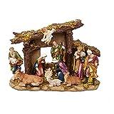 Kurt Adler N0296 Resin Nativity Set with Figures & Stable 11 Piece Set