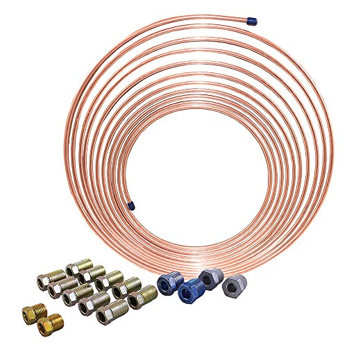 25 ft 1/4 in Brake Line Kit, Universal Size - Copper-Nickel Tubing Coil (Includes SAE - Oem Brake Line Replacement