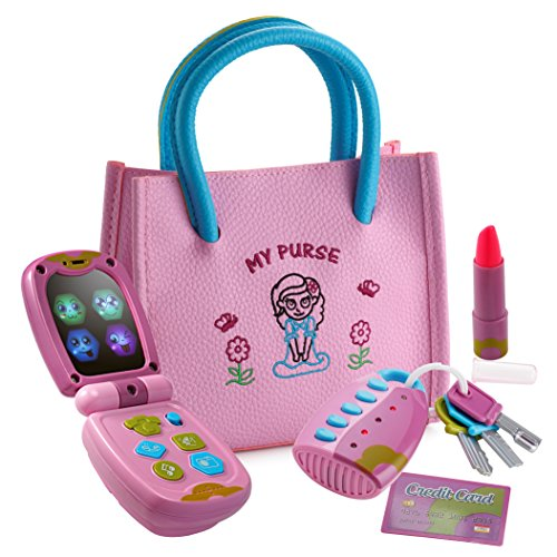 Playkidz My First Purse – Pretend Play Princess Set for Girls with Handbag, Flip Phone, Light Up Remote with Keys, Play Lipstick & Kids Credit Card – Great Educational Toy for Fun & (Little Girls Dress Up)