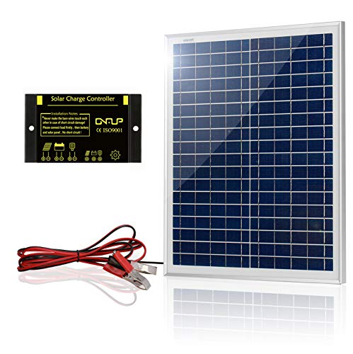 SUNER POWER 20 Watts 12V Off Grid Solar Panel Kit - Waterproof 20W Solar Panel + Photocell 10A Solar Charge Controller with Work Time Setting + 6.5ft Battery Clamp Extension Cable