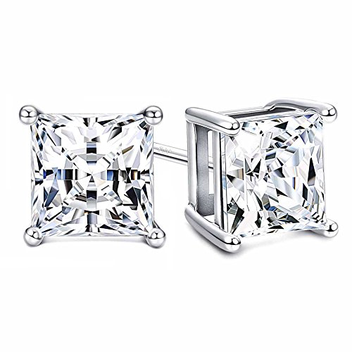 Sllaiss 925 Sterling Silver Earrings Princess-Cut Swarovski Pure Brilliance Cubic Zirconia Stud Earrings for Women 4-Prong CZ 2.00cttw