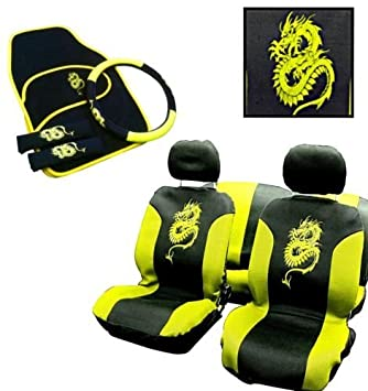 Frontier Yellow Dragon Car Seat Cover 13 Piece Set