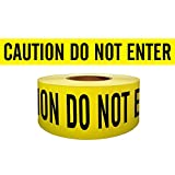 Presco Economy Printed Barricade Tape: 3 in. x 1000 ft. (Yellow with Black ''CAUTION DO NOT ENTER'' printing)