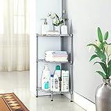 LANGRIA 3-Tire Bathroom Corner Shelf Corner Wire Shelving Units, Free Standing Bathroom Shelving Corner Storage Rack Display Tier Shelf for Kitchen Office,Silver