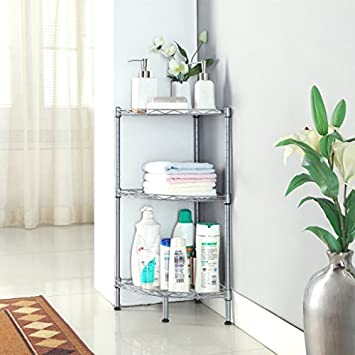 LANGRIA 3 Tire Bathroom Corner Shelf Corner Wire Shelving Units, Free  Standing Bathroom Shelving