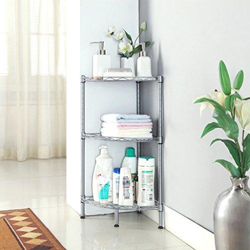 3-Tire Bathroom Corner Shelf Wire Shelving Units, Free Standing ...