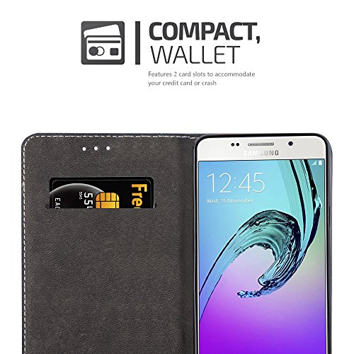 Cadorabo - Funda Estilo Book para Samsung Galaxy A3 (6) (Modelo 2016) de Diseño gamuza-Artificial / Cuero-Artificial con Tarjetero, Función de Soporte y Cierre Magnético Invisible �?Etui Case Cover Ca NEGRO-MARRÓN