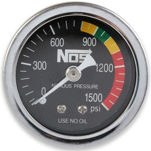 NOS/Nitrous Oxide System 15925NOS Nitrous Pressure Gauge 1.5 in. Dia. Black Dial Face w/White Needle 0-1500 psi Dry Stainless Steel Nitrous Pressure Gauge