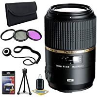 Tamron 90mm f/2.8 SP Di MACRO 1:1 VC USD Lens for Canon Digital SLR Cameras + 55mm 3 Piece Filter Kit + Lens Cap Keeper + Deluxe Starter Kit DavisMax Bundle