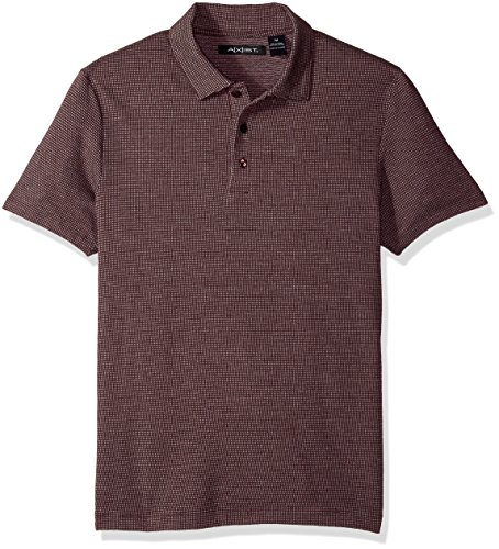 Axist Mens Short Sleeve Jacquard 3 Button Polo  Port  Xx Large