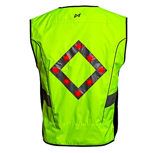 WildSaver Triple Vis Led Vest with Lights & Reflective Strips USB Rechargeable High Visibility with Pockets for Men and Women. Night Safety for Cycling, Running,Jogging, Walking, Multi Use. (Large) (Safety Vests Lights)