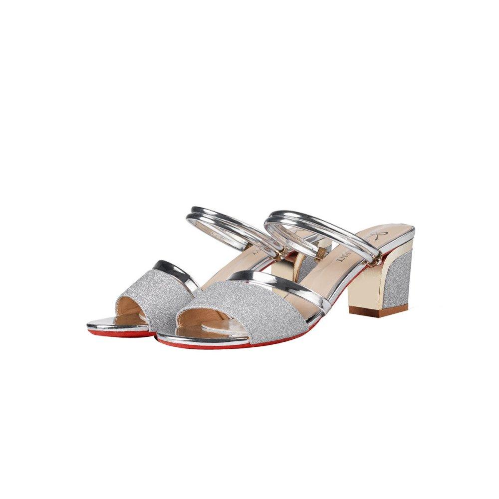 BFMEI Schuhe Koreanische Sandalen Mittlere Sauml;tze von Casual Schuhe Dick mit Atmungsaktive Mode Schuhe Sandalen Hausschuhe  39 EU|Silver