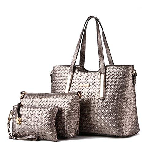 (XMLZG Women's Pu Leather Weave Handbag 3 Pieces Tote Bag Set Large Capacity Shoulder Purse Crossbody Bag Bronze)