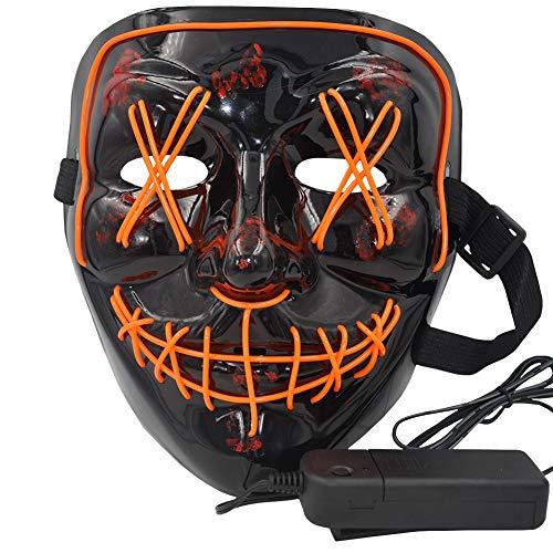 atimier Halloween Mask LED Light up Mask for Festival Cosplay Halloween Costume(Orange Light)