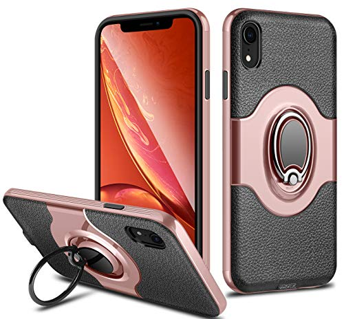 ELOVEN Ring Holder Series for iPhone XR Case Ultra Slim Hybrid Dual Layer with Metal Ring Kickstand Shockproof Anti-Scratch Non-Slip Grip Protective for iPhone XR 6.1 inches, Rose Gold