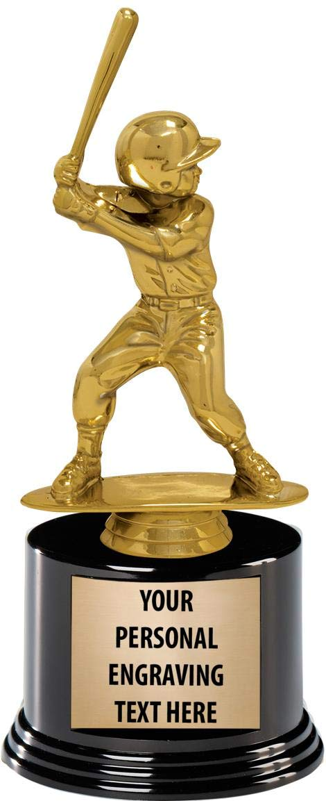 Crown Awards Baseball Trophies with Custom Engraving 7.25 Personalized Jr Boy Kids Baseball Award T-Ball Trophy On Deluxe Round Base Prime