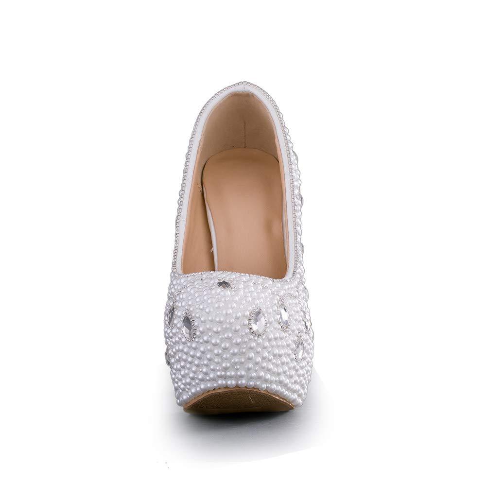 Zeemido White Pearls High Heels Prom Party Pumps Womens Wedding Shoes