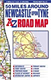 50 Miles Around Newcastle-upon-Tyne (Road Map)