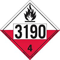 Labelmaster ZVR213190 UN 3190 Spontaneously Combustible Hazmat Placard, Removable Vinyl (Pack of 25)