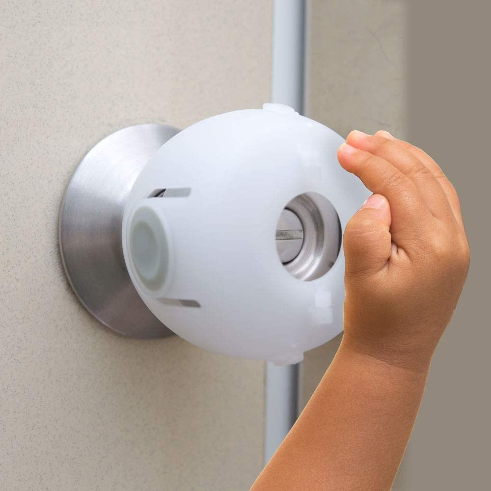 Door Knob Safety Cover, Child Safety Lock, Kid-Proof Doors 4 Pack/White by Heart of Tafiti (Also Safe for Toddlers and People Suffering from Dementia)