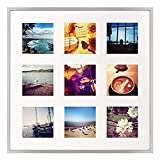 Golden State Art 16x16 Silver Aluminum Metal Frame with Ivory Mat - Displays Nine 4x4 Photos - Square Collage Frame - Real Glass, Sawtooth Hanger, Swivel Tabs - Wall Mounting, Landscape, Portrait
