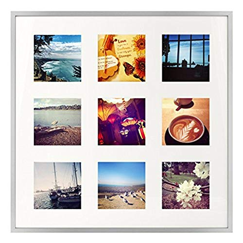 Golden State Art 16x16 Silver Aluminum Metal Frame with Ivory Mat - Displays Nine 4x4 Photos - Square Collage Frame - Real Glass, Sawtooth Hanger, Swivel Tabs - Wall Mounting, Landscape, Portrait ()