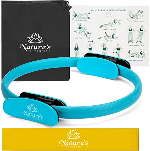 Nature's Integrity Pilates Ring - [Elite Series] 14 Magic Circle Fitness Ring For Body Sculpting, Toning Inner Thighs, and Weight Loss - Includes BONUS Resistance Band, Travel Bag, and Exercise Guide