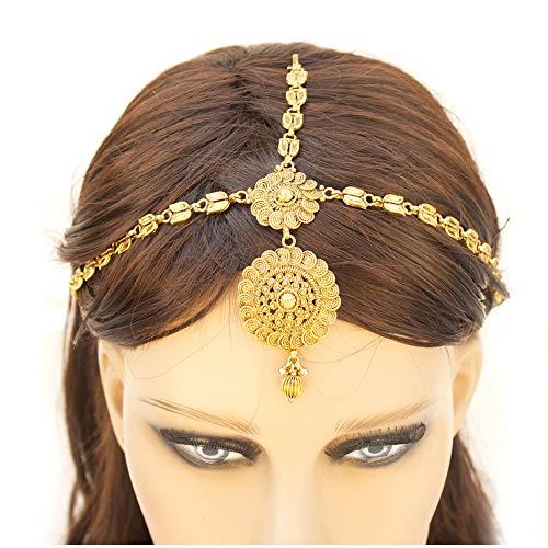 Indian Pakistani Ethnic Bollywood Gold Plated Round Maatha Patti