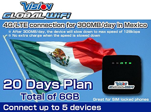 T-mobile SIM Card 4G/LTE Mexico Mobile WiFi Hotspot Rentals 300MB/day - 20 Day by VISION GLOBAL WiFi