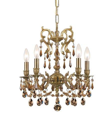 (Crystorama 5525-AG-GT-MWP, Gramercy Crystal 1 Tier Chandelier Lighting, 5 Light, 300 Watts, Brass )