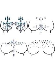 AiQueen 4 Sheets Rhinestone Body Jewelry Sticker Breast Jewels Tattoo Crystal Chest Nipple Sticker Gem Stones Bindi Temporary Stickers