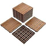 Yaheetech 12 x 12'' Patio Pavers Decking Flooring Deck Tiles Interlocking Wood Patio Tiles Pack of 11 Tiles For Patio Garden Deck Poolside Indoor Outdoor