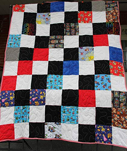 America Quilted Throw - Video Game Quilted Throw Mario, Donkey Kong, Zelda, Princess Made in the USA