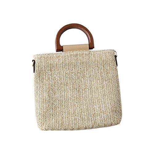 Bag Lady Bag Weave Grass Wooden Grip Messenger Bag Zipper Shoulder Work (color: Light Beige) Light Beige