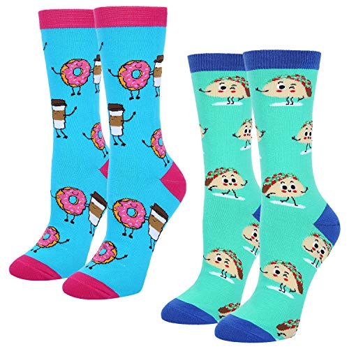 Women's Girls Novelty Colorful Taco Donut Coffee Crew Socks, Crazy Funny Casual Cotton Sweet Food Socks, 2 Pack with Gift Box