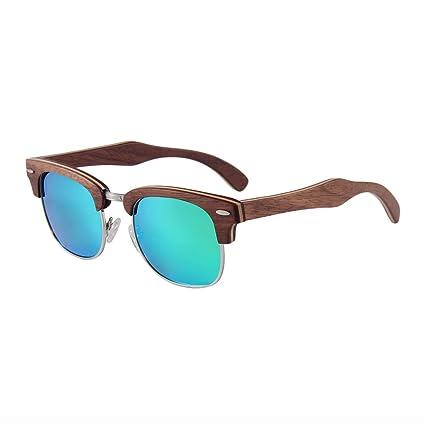 e4b47ee18a DDSS Sunglasses - Polarized Metal Half Frame Bamboo Wood UV400 Anti-UV Lens  Real Film