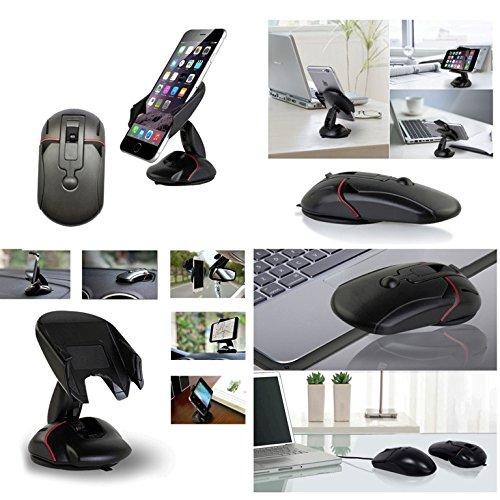 Black KSM-SBZJ WDZ Mouse-shape Universal Windshield//Dashboard//Sun Visor//Air Vent Car Mount Cradle Holder Kit Bao Sheng@ Smartphone Car Mount Holder