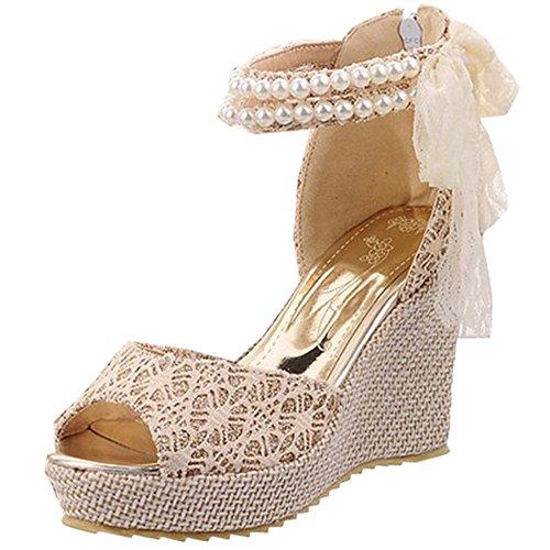 Femmes Chaussures Beige De Taoffen Sandales De Les Élégante Talon Compensé dqwtzT