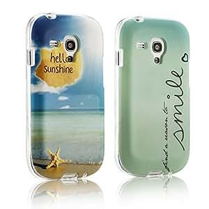 tinxi® Dos Fundas de silicona para Samsung Galaxy Alpha Caso de silicona TPU caso de la cubierta de la contraportada de silicona protectora caso con el azul fondo y el dibujo de una sonrisa sale el sol