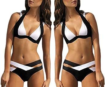 Focussexy womens blanco y negro cruz push up bikini halter - Accesorios de bano amazon ...