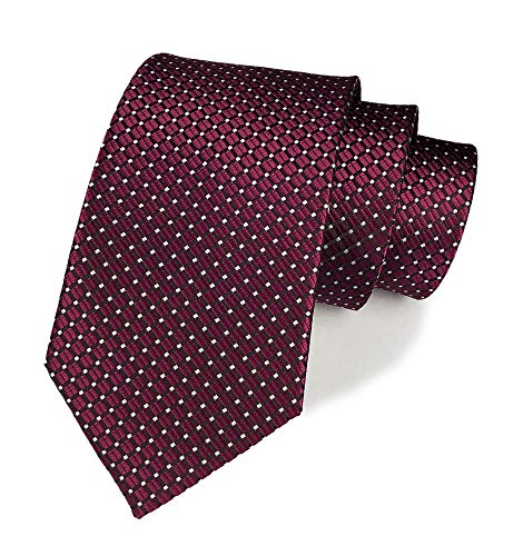 Wine Red Tie for Men Elegant Red Trendy Textured Silk Cravat Tie Formal Wedding -