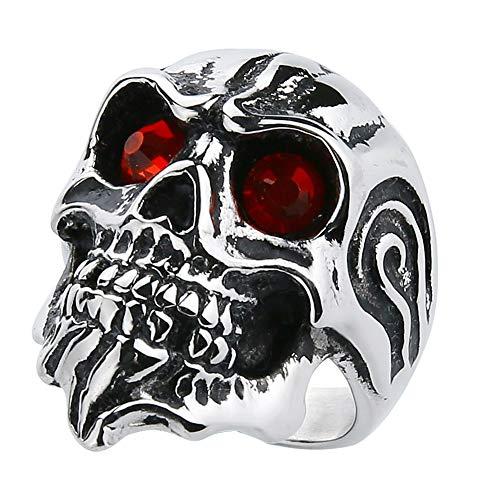 Valily Skull Rings for Men Stainless Steel Gothic Motor Biker Punk Jewelry Skull Ring Garnet Red Eyes Size 13