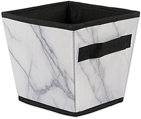 575ada6fbaad DII Polyester Foldable Trapezoid Laundry Organizing Cube Basket Bin,  Assorted, Set of 4, White Marble
